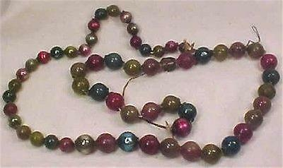 Vintage Mercury Glass Christmas Bead Garland Multi Color Ornament 3 Feet