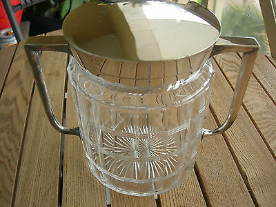 French Silverplate and Cut Crystal Art Deco Biscuit Barrel