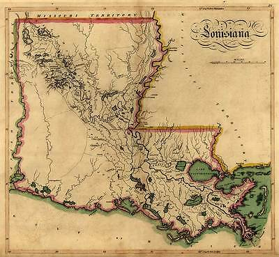 "MAP State of LOUISIANA Vintage circa 1814 24"" x 26"" New Orleans Baton Rouge"