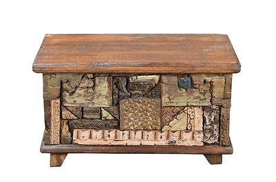 Chest in patchwork style , 100 -year-old wood