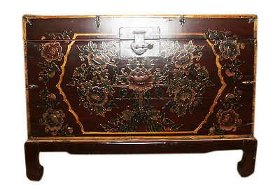 China ca 1940 old chest box on legs solid wood ornaments