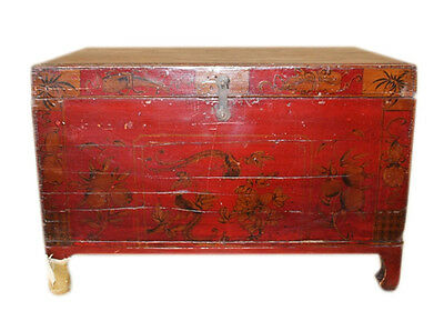 China ca 1890 Colonial Solid wood chest with fine antique painting