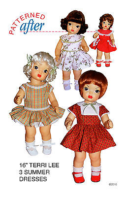 "3 SUMMER DRESSES CLOTHING PATTERN FOR 16"" TERRI LEE DOLL"