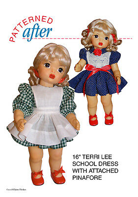 "DRESS WITH ATTACHED PINAFORE CLOTHING PATTERN FOR 16"" TERRI LEE DOLL"
