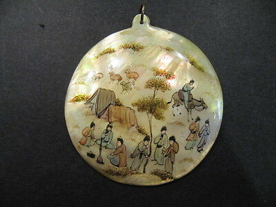 Gorgeous Mother of Pearl Hand Painted Asian Motif Pendant