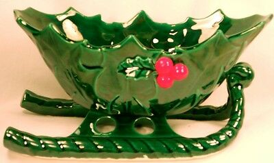 Lefton Green Holly Sleigh Vintage Christmas Holiday Decoration Red Berries