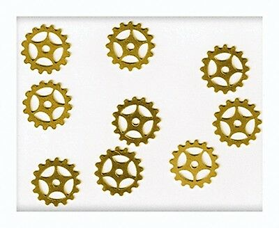 """12 Solid BRASS Watch GEARS~ 16mm 5/8"""" ~ SteamPunk Altered Art ~ Made in USA"""