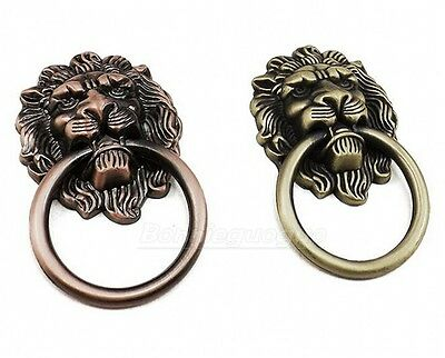 6PCS Vintage Lion Head Ring Dresser Drawer Cabinet Door Pull Handle Set Lot
