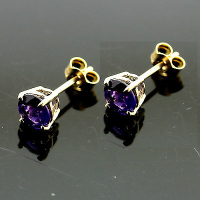 9ct Yellow Gold 5mm Round  Amethyst Stud Earrings Hand  MADE IN UK