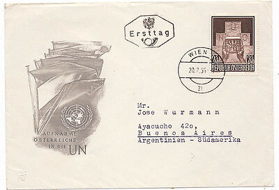 Austria 610 First Day Cover Admission to United Nations 1956 FDC to Argentina