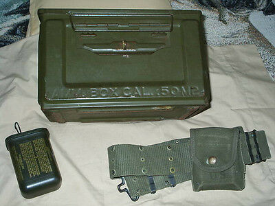 VINTAGE MILITARY AMMO BOX WITH BELT AND PLASTIC CASE