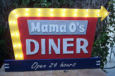 "Mom's Diner Sign Arrow Lights up!!! HUMONGOUS 44"" !! Customized to your name!"