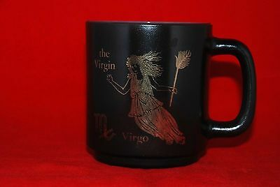 Zodiac VIRGO Cup Mug Federal Milk Glass Black Gold Glasbake Astrology Vintage