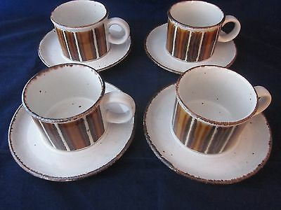 WEDGWOOD MIDWINTER Stonehenge Earth Cup & Saucer Set ~ Set of 4 ~ EXCELLENT