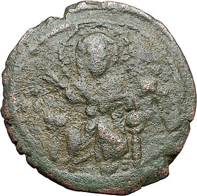 JESUS CHRIST Class F Anonymous Ancient 1059AD Byzantine Follis Coin i48098