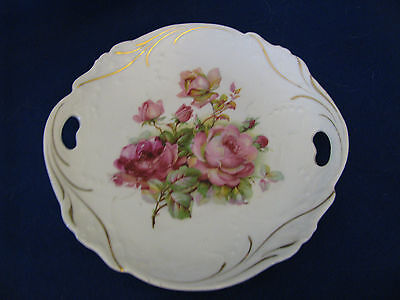 """Bavaria 9 1/2"""" Floral Double Handled Cabinet Plate Germany Floral on White"""