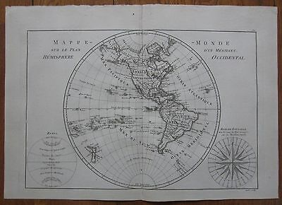Bonne: Map North and South America Pacific New Zealand - 1787