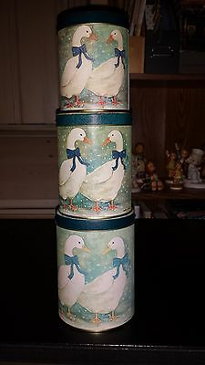 Vintage Winter Geese -Nesting Tins- Set of 3 Metal Canisters- Blues Retro VGC