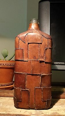 """Vintage Brown Pint  Bottle Made in Italy  9.5"""" Tall Leather"""