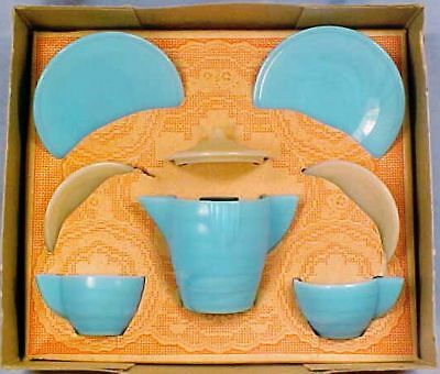 Akro Agate Concentric Ring Tea Set Play Time Blue & Pink Original Box