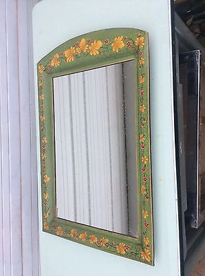 TOLE PAINTED TIN COZY FRENCH COUNTRY DRESSER / VANITY / PIER MIRROR / FLOWERS