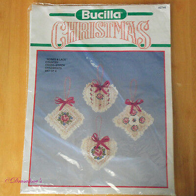 Bucilla Christmas Roses & Lace Counted Cross Stitch Ornaments Sealed Set of 4