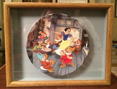 """Walt Disney """"The Dance of Snow White and the Seven Dwarfs"""" Plate & FRAME!!"""