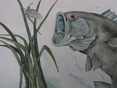 """BIG MOUTH BASS ORIGINAL WATERCOLOR 15 X 19"""" N KESSEL 1983 SIGNED ONE OF A KIND"""