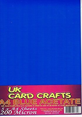 A4 Blue Acetate 200 Micron x 5 Sheets - Crafts or Dyslexia Reading Overlays