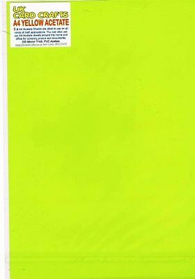 A4 Yellow Acetate 200 Micron x 5 Sheets - Crafts or Dyslexia Reading Overlays