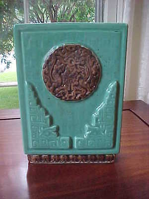 Vintage Bandi Pottery mid century turquoise and brown California modern vase