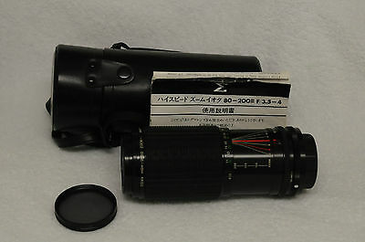 SIGMA HIGH-SPEED ZOOM-ι 80-200mm F3.5-4 MF ZOOM LENS FOR KONICA MT, CASE, POLA++