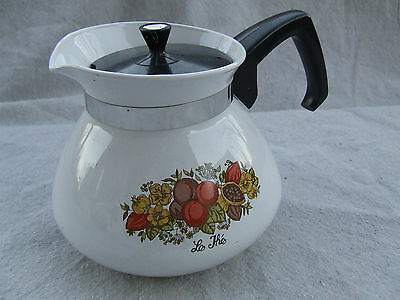 Spice of Life 6 Cup Cups Coffee Pot Vintage Corelle Corning Ware 2 pc set w Lid