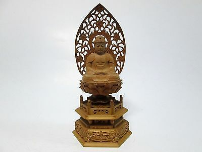 Japan Buddhist statue  wooden hand-carved 27cm