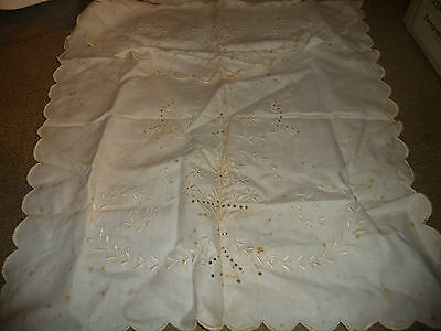 vtg antique white linen embroidered baby CARRIAGE BLANKET & PILLOW CASE  DOLL
