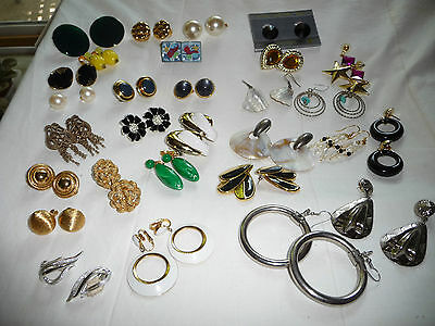 vtg  MIXED LOT of 25 PAIRS costume FASHION CLIP ON & pierce EARRINGS