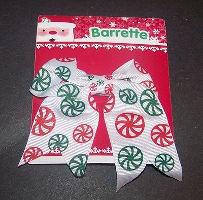 Christmas Barrette Bow Peppermint Candy