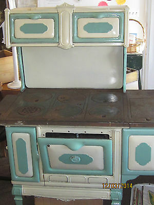Antique Green & White Enamel DIANA Cook Stove Wood/Coal Cast Iron Cooktop