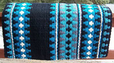 Catalina Show Blanket - 38x34 (Black Base/Turquoise Accents) by Mayatex