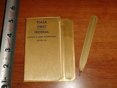 JA541 Vtg 1965 Calendar Memo Book Ad Piasa First Federal Savings Loan Alton IL