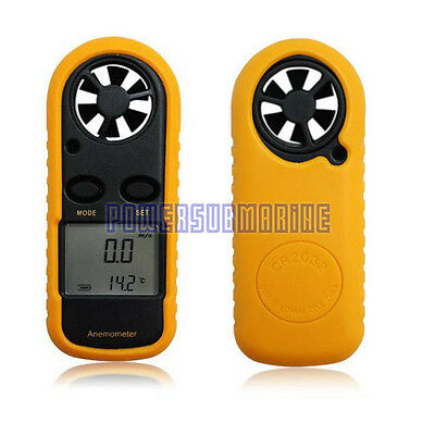 LCD Digital Handheld Anemometer Fr Wind Speed Velocity Meter Thermomoter Sailing
