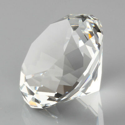 """60mm/2.36"""" Round Sapphire Glass Crystal Diamond Shaped Paperweight Clear"""