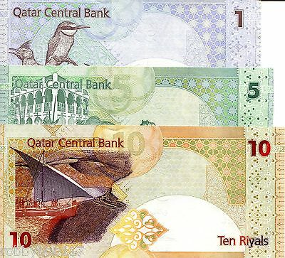 QATAR SET 3 NOTES 1 - 10 Riyals Banknote World Currency Money Asia BILL Note