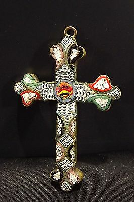 Antique Religious Micro Mosaic and Brass Cross Crucifix Pendant