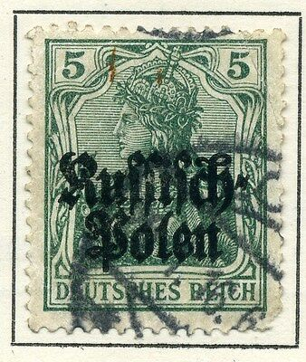 GERMANY OCCUPATION POLAND; 1915 early Optd issue fine used 5pf.