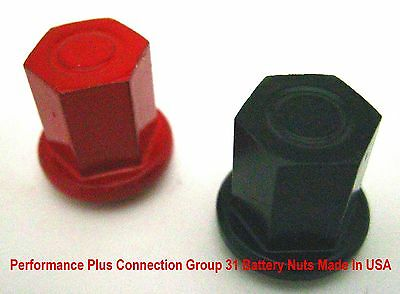 "Battery Group 31 Stainless Steel Red/Black Powder Coated 3/8"" –16 Nuts -Made USA"