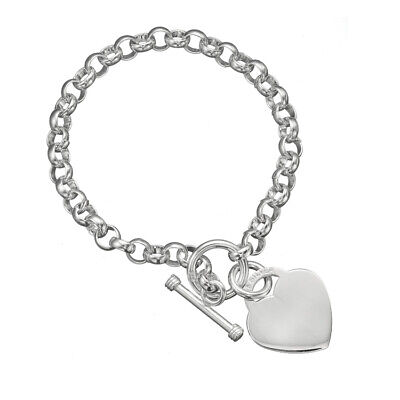 925 Sterling Silver Rolo Link Chain Engravable Heart Charm Toggle Clasp Bracelet