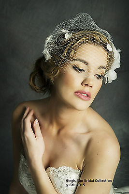 French Style Ivory Bridal Wedding Floral Beaded Birdcage veil .Ready to ship.