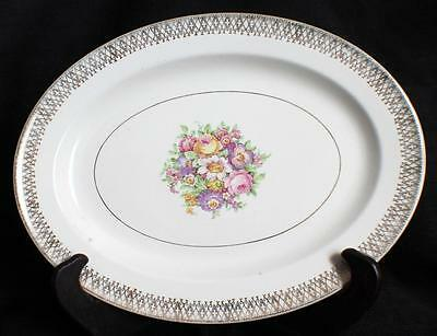"Vintage EDWIN KNOWLES USA Gold Deco Filigree FLORAL Cernter 11 1/2"" Oval Plate"