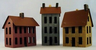 18 Primitive Country Wooden Salt Box House Ornaments Metal Roof Shelf Sitters